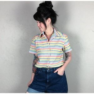 Vintage 1960s Rainbow Striped Top